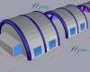 Abri piscine gonflable en 3 modules, en forme de tunnel.