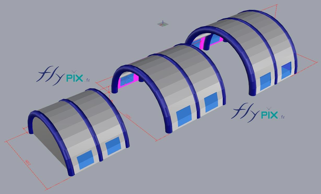 Une autre vue 3D d'une tente gonflable pour piscine, en enveloppe PVC.