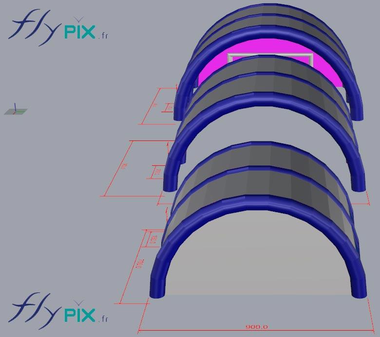 Etude 3D de conception pour une tente gonflable de chantier, en forme de tunnel.