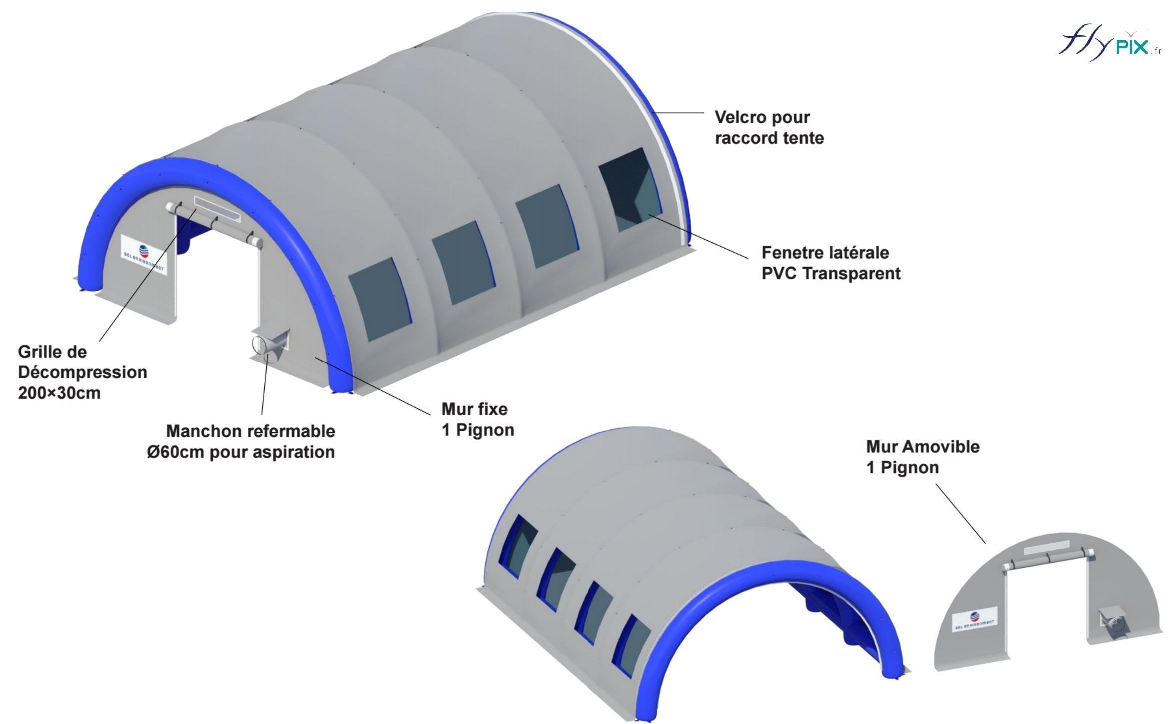 Tente gonflable abri piscine de chantier en forme de tunnel.