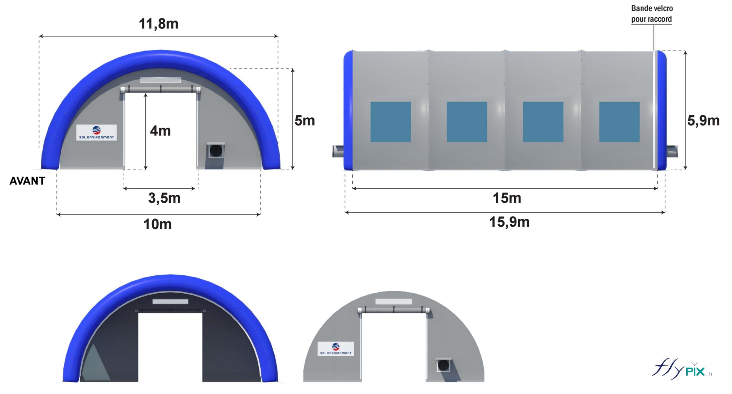 Tente gonflable de protection de chantier en forme de tunnel, fabriquée pour Sol Environnement.