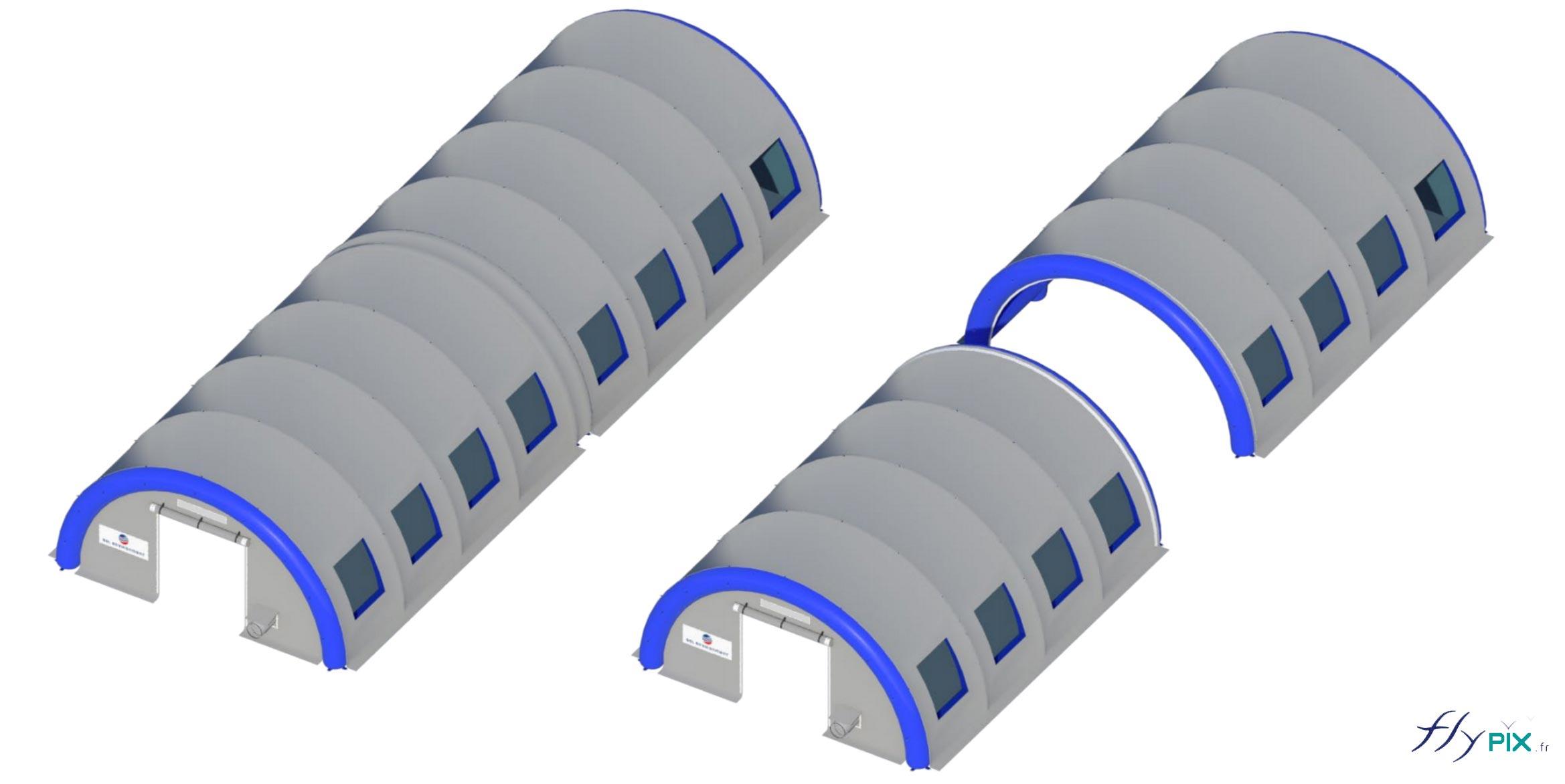 Les modules de tentes en forme de tunnel peuvent être raccordés les uns à la suite des autres, dans le sens de la longueur.