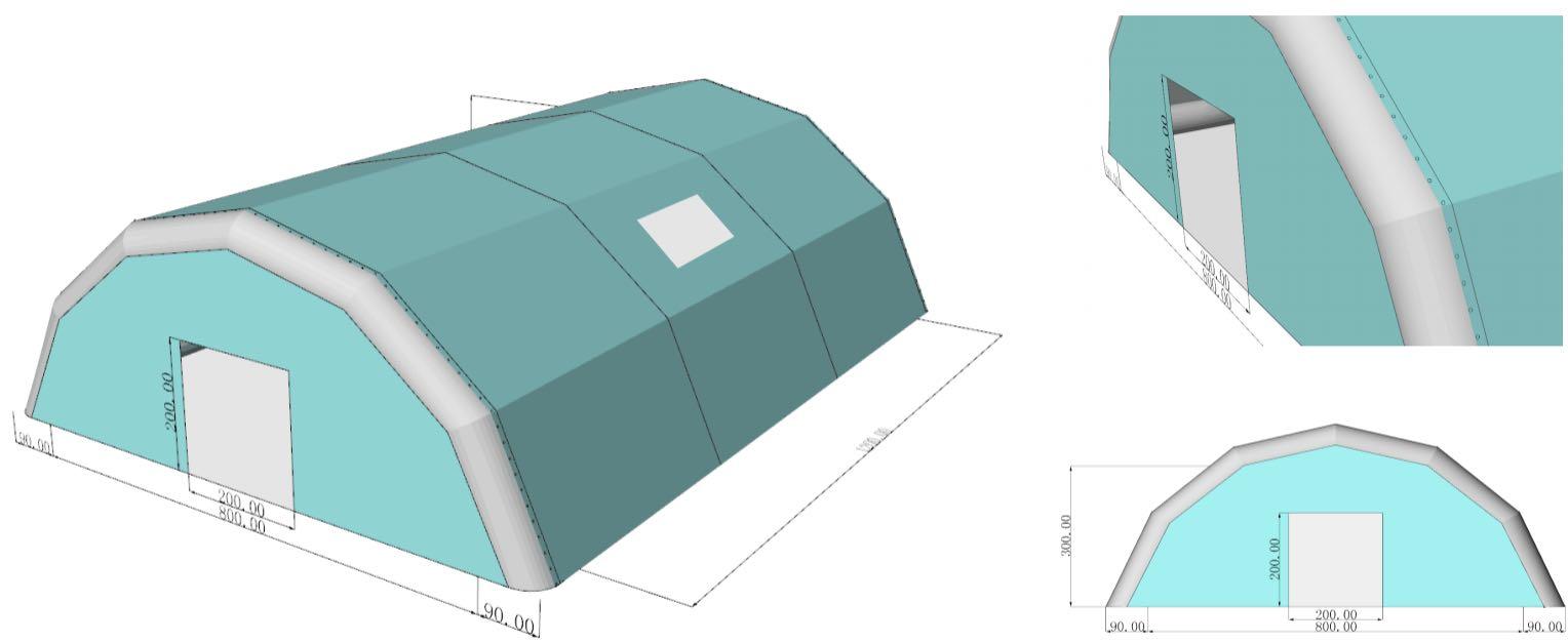 Plan d'un abri gonflable sur mesure