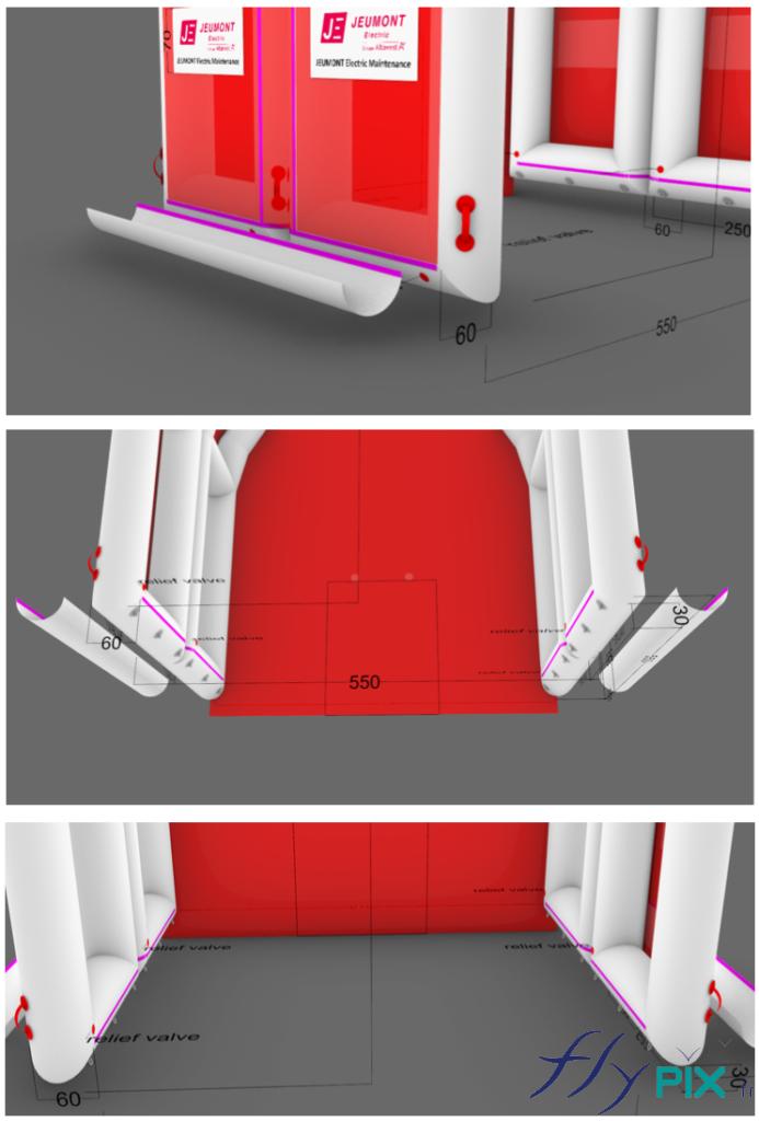 Modélisation 3D de la tente gonflable air captif, divisée en 2 modules gonflés avec une pompe électrique.