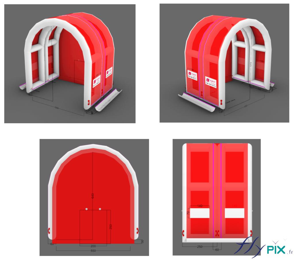 BAT, modélisation 3D d'un abri gonflable de chantier industriel, composé de 2 modules air captif gonflés avec une pompe électrique.