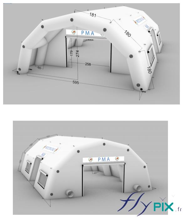 BAT ou modélisation 3D de la tente PMA gonflable, un abri médical réalisé pour l'Armée Française.