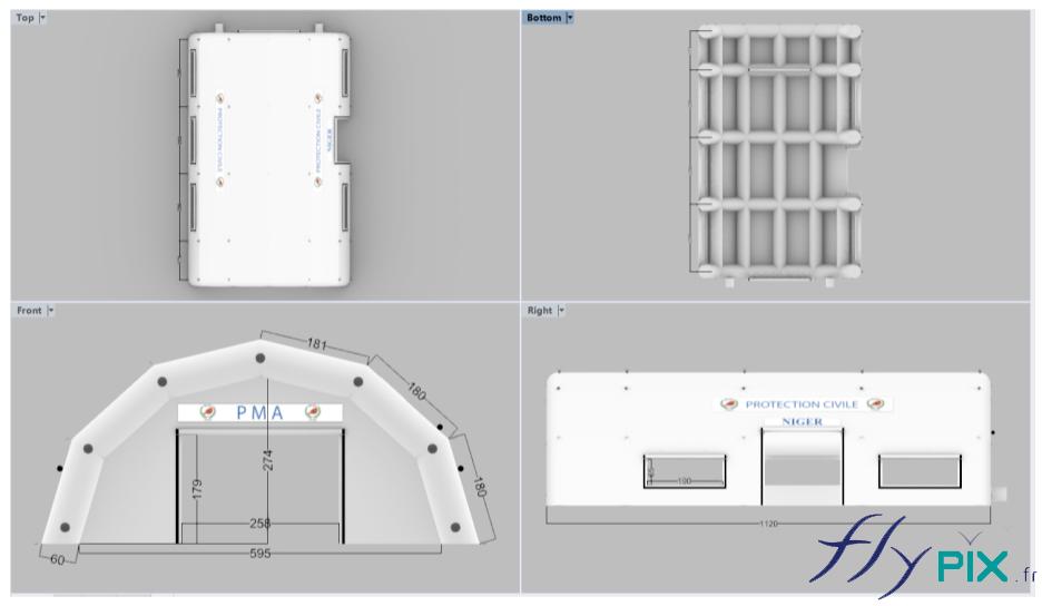 BAT avec la modélisation 3D de la tente médicale fabriquées pour l'Armée Française, plus précisément la Protection Civile du Niger, pour l'Ambassade de France au Niger.