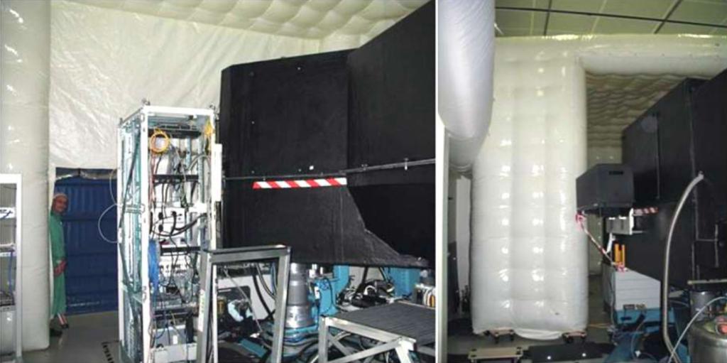 Une machine en phase de tests acoustiques, à l'intérieur de l'abri gonflable.