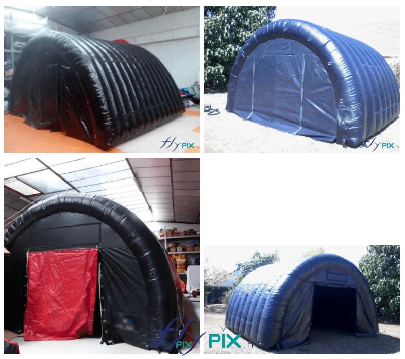 Plusieurs photos d'abris gonflables tunnels demi-lune, et de différentes couleurs, pour du stockage de matériel ou de machines, à l'abri des intempéries et de la pluie.